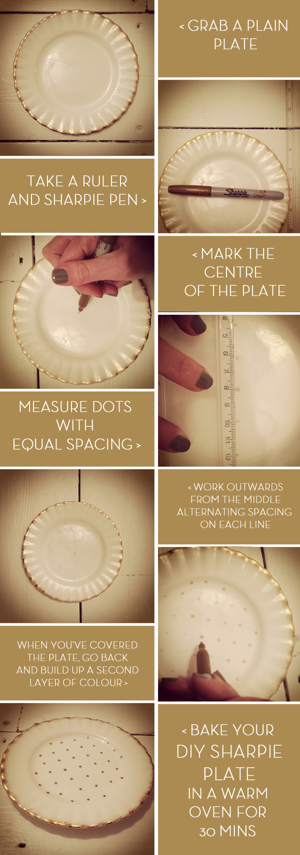 Gold Sharpie DIY Polks Dot Plate