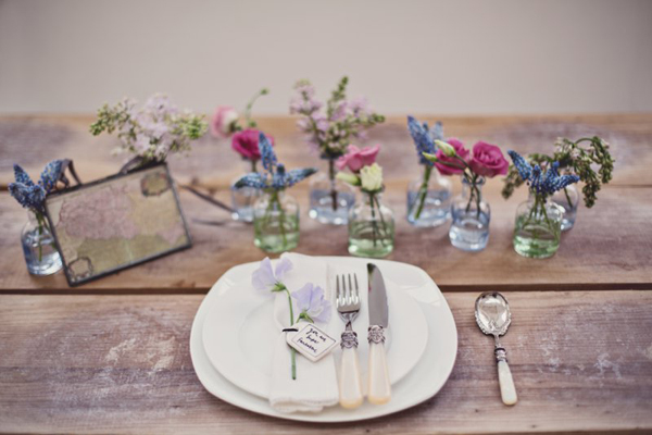 Wooden table and vases