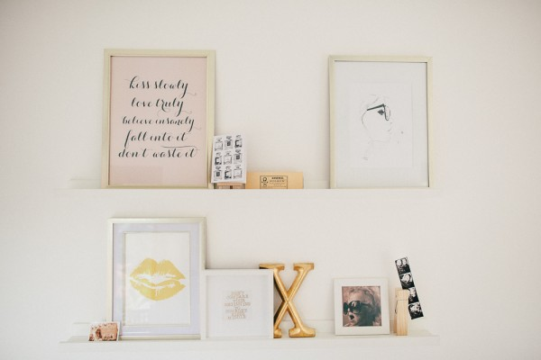 Gold White Pink Gallery on Ribba Shelves | Sarah & Bendrix | Jessica Illustration