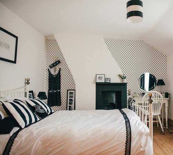 Black and White Bedroom with Polka Dot Wallpaper